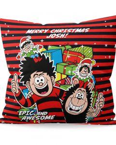 Personalised Dennis & Gnasher Christmas Cushion