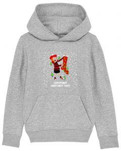 Personalised Minnie Christmas Kids Grey Hoodie