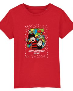 Personalised Dennis & Gnasher Christmas Red T-Shirt