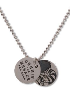 Beano Double Fan Club & Running Dennis Round Silver Mini Tag Necklace