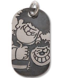 Beano Mini Silver Dennis & Gnasher Tag