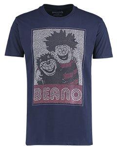 Adult Dennis & Gnasher Navy Popcorn T-Shirt