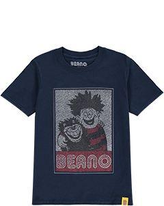 Kids Dennis & Gnasher Navy Popcorn T-Shirt